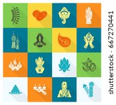 diwali. indian festival icons.... | Shutterstock .eps vector #667270441
