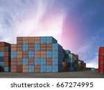 container ship yard in import... | Shutterstock . vector #667274995