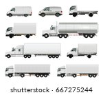 set of realistic white cargo... | Shutterstock .eps vector #667275244