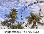 Small photo of 11 November 2014: Singapore - Singapore Flyer and palm trees, Singapore