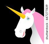 unicorn with pink mane head... | Shutterstock . vector #667277839