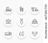 agriculture  farming line icons ... | Shutterstock .eps vector #667281754