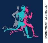 marathon running  abstract... | Shutterstock .eps vector #667282237
