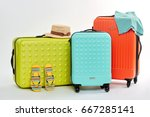 three different suitcases ... | Shutterstock . vector #667285141
