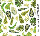 seamless pattern with hand... | Shutterstock .eps vector #667289809