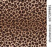 dark brown leopard seamless... | Shutterstock . vector #667289881