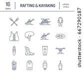 rafting  kayaking flat line...   Shutterstock .eps vector #667290187
