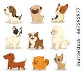 cute cartoon dog vector set.... | Shutterstock .eps vector #667292977