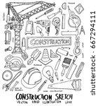 construction doodle sketch line ... | Shutterstock .eps vector #667294111