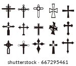 isolated black religious cross... | Shutterstock .eps vector #667295461