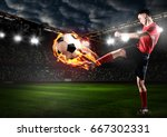 soccer or football player is... | Shutterstock . vector #667302331