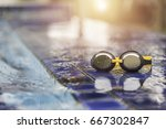goggles on the side of a... | Shutterstock . vector #667302847