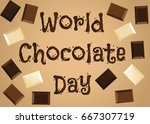 world chocolate day background... | Shutterstock .eps vector #667307719