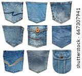 Jeans Pocket Isolated On White. ...