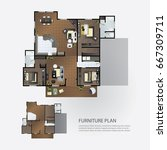 layout interior plan with... | Shutterstock .eps vector #667309711