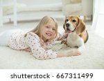 child with dog | Shutterstock . vector #667311499