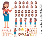 Front, side, back view animated character. Business woman character creation set with various views, hairstyles, face emotions, poses and gestures. Cartoon style, flat vector illustration. | Shutterstock vector #667316245