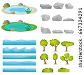 lake  a set of stones  trees  a ... | Shutterstock .eps vector #667324291