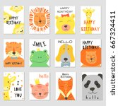 vector cards with cute... | Shutterstock .eps vector #667324411