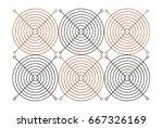 3d illustration of fan grill... | Shutterstock . vector #667326169