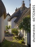 Small photo of Thatched cottages at Inner Hope, Hope Cove, Devon, England