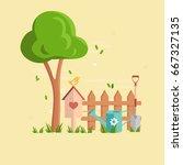 gardening concept poster. flat...   Shutterstock .eps vector #667327135