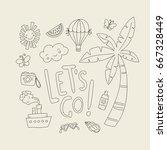 summer and tropics doodle set | Shutterstock .eps vector #667328449