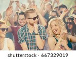 big group of people dancing and ... | Shutterstock . vector #667329019