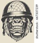 vector illustration of a monkey ... | Shutterstock .eps vector #667337239