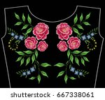 embroidery neckline with summer ... | Shutterstock .eps vector #667338061