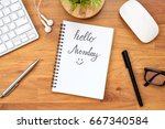 notebook page with hello monday ... | Shutterstock . vector #667340584