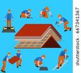 roof construction worker repair ... | Shutterstock .eps vector #667341367