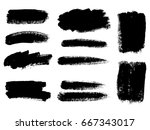 set of black paint  ink brush... | Shutterstock .eps vector #667343017