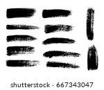 set of black paint  ink brush...   Shutterstock .eps vector #667343047