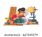 woodworker man at workplace   Shutterstock .eps vector #667345279