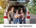 father mother and daughter... | Shutterstock . vector #667345291