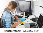 artist freelance woman working... | Shutterstock . vector #667352419