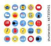 round icon set of kitchen tools ...
