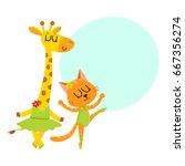 Cute Little Giraffe And  Kitten ...