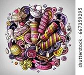cartoon cute doodles hand drawn ... | Shutterstock .eps vector #667359295