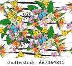 summer background with tropical ... | Shutterstock .eps vector #667364815
