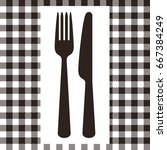 fork  knife and tablecloth... | Shutterstock .eps vector #667384249