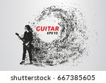 guitarist from particles.... | Shutterstock .eps vector #667385605