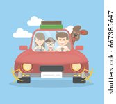 family in car travel | Shutterstock . vector #667385647