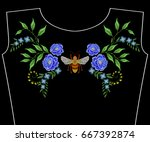 embroidery neckline with bee... | Shutterstock .eps vector #667392874