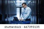 in data center it engineer... | Shutterstock . vector #667393135