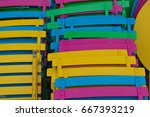 stacked bright and colorful... | Shutterstock . vector #667393219