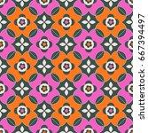 seamless retro pattern | Shutterstock .eps vector #667394497