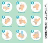 washing hands properly... | Shutterstock .eps vector #667398874