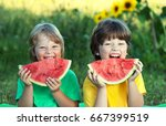 Happy Child Eating Watermelon...